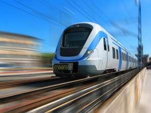 Trem de passageiros em movimento